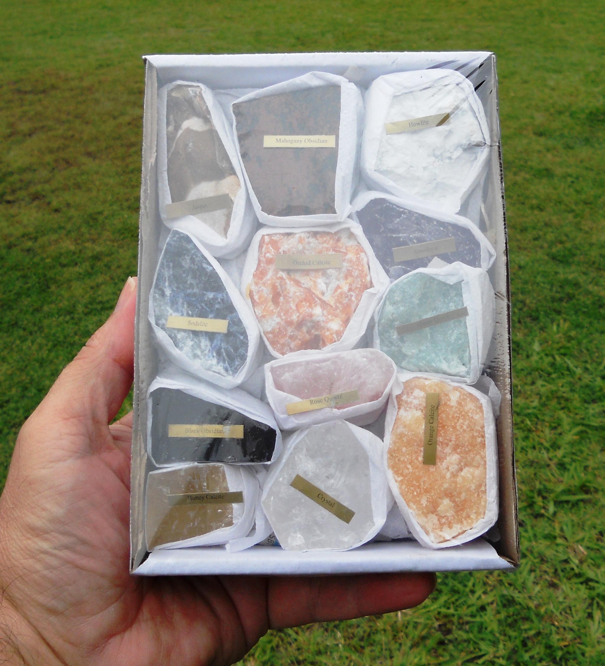 Box Set of 12 Assorted Minerals Rocks