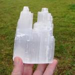 Twin Selenite Iceberg tower in Natural rough white 15cm