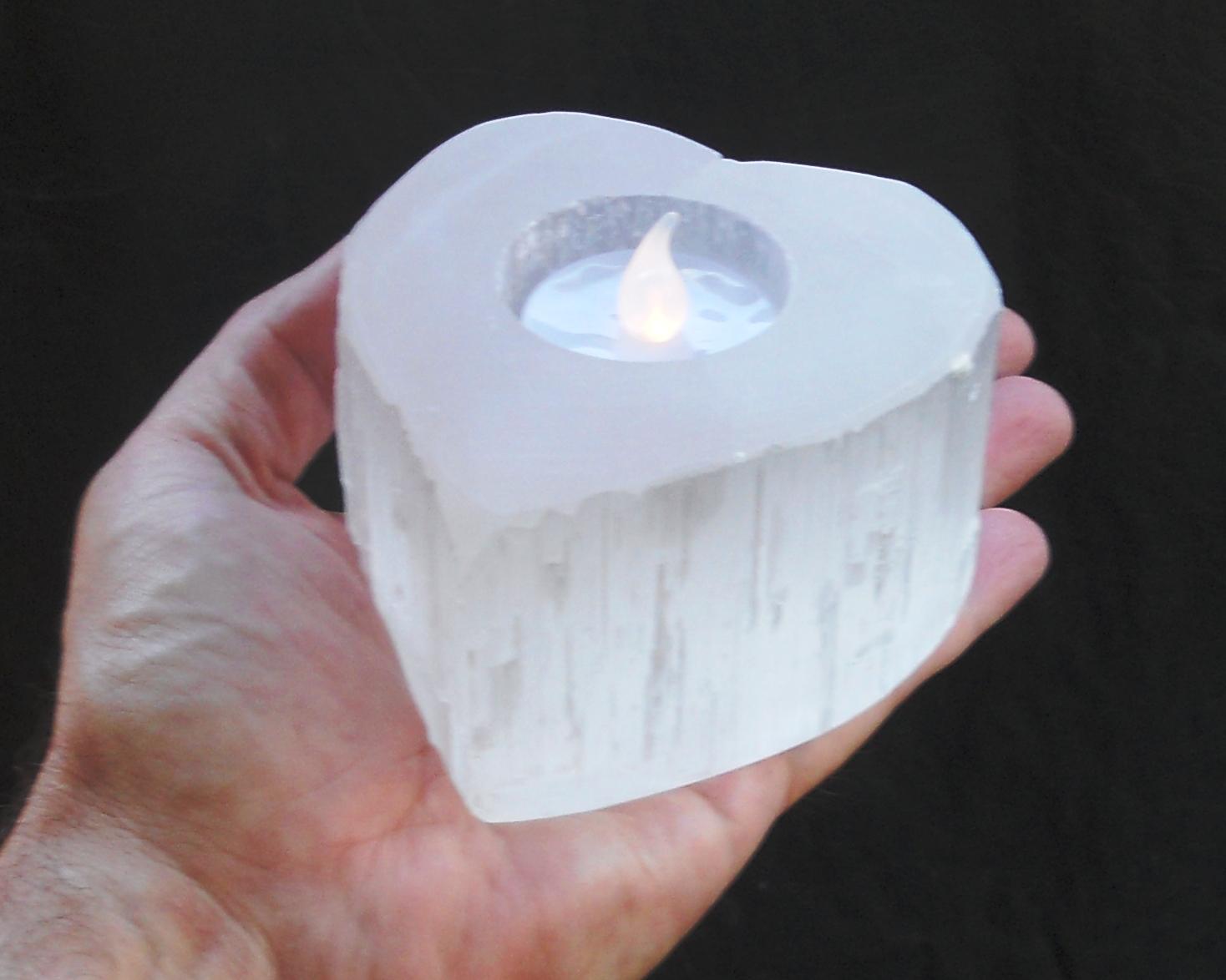 Selenite Heart Tealight Base